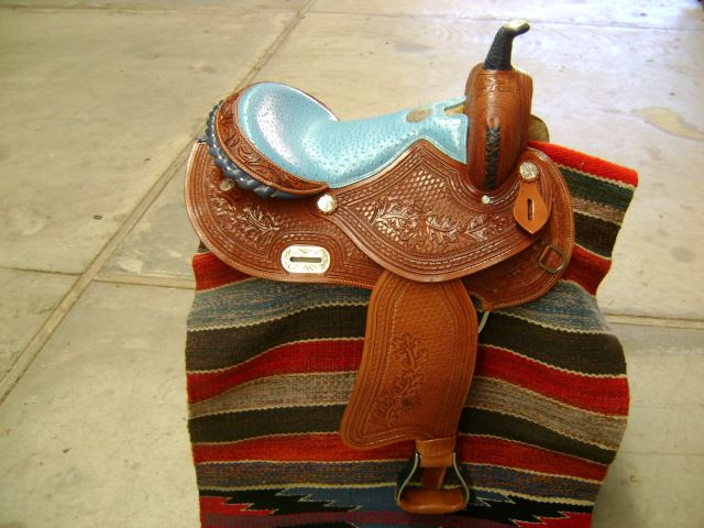 ULTIMATE LEATHER 16 TURQUOISE OSTRICH WESTERN BARREL RACER RACING